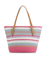 Saks Fifth Avenue Striped Straw Tote Bag Pink
