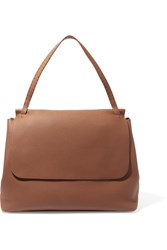 The Row Top Handle 14 Textured Leather Shoulder Bag Brown