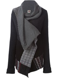 I'm Isola Marras Patterned Draped Cardigan Grey