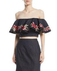 La Femme Floral Embroidery Two Piece Denim Top And Skirt Set Blue Pattern