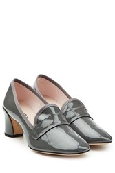 Repetto Patent Leather Block Heel Loafers Grey
