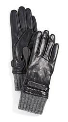 Mackage Fia Leather Gloves With Ribbed Cuff Black