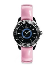 Christian Dior Dior Viii Limited Edition Sapphire Black Ceramic And Leather Automatic Watch Black Pink