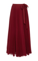 Carolina Herrera Silk Chiffon Pleated Skirt Burgundy