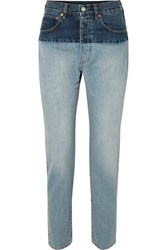 Vetements Split Two Tone High Rise Straight Leg Jeans Indigo