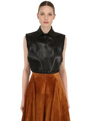 Salvatore Ferragamo Paired Plonge Leather Vest Black