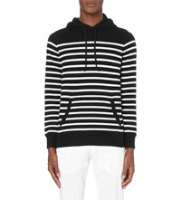 Ralph Lauren Striped Cotton Blend Hoody Polo Black Wht