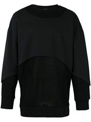 Les Benjamins Layered Panel Sweatshirt Black