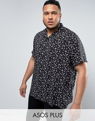 Asos Plus Regular Fit Viscose Shirt With Fan Print Black