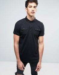 Brave Soul Polo Shirt With Chest Pocket Black