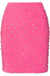 Moschino Embellished Quilted Crepe Mini Skirt Pink