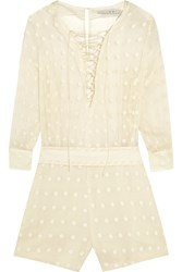 Iro Oxana Embroidered Cotton And Silk Blend Playsuit White