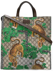Gucci Bengal Gg Supreme Tote Men Leather Polyurethane One Size Brown
