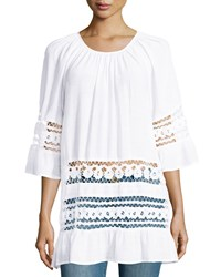 Neiman Marcus Lace Stripe Bell Sleeve Tunic White
