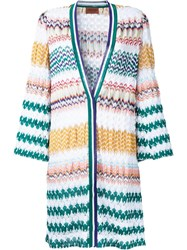 Missoni Zig Zag Pattern Open Cardigan White