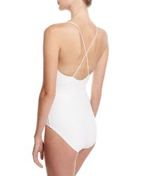 Michael Kors Front Tie Solid One Piece Swimsuit White