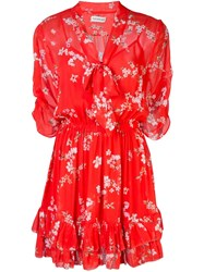 Nicholas Floral Print Mini Dress Red