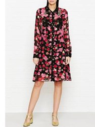 Anna Sui Heartbeat Printed Shirt Dress Red Black Red Black