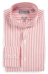 Michael Bastian Men's Big And Tall Trim Fit Stripe Dress Shirt Red White