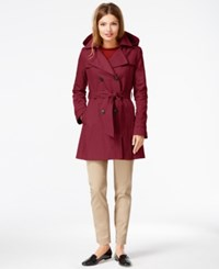 Dkny Hooded Trench Raincoat Red