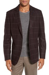 Flynt Men's Big And Tall Regular Fit Windowpane Plaid Wool Sport Coat Wine