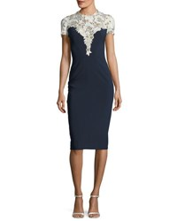 Jenny Packham Jewel Neck Short Sleeve Crepe Cocktail Dress With Lace Dark Blue
