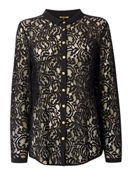Biba Lace Button Detail Shirt Black