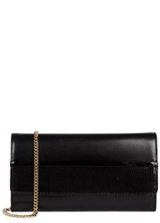 Lanvin Black Glossed Leather And Lizard Clutch