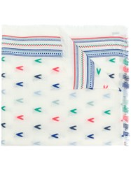 Closed Embroidered Scarf White