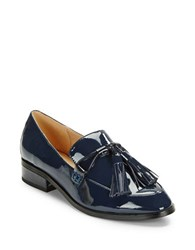 Imnyc Isaac Mizrahi Bianca Patent Leather Loafers Navy Blue
