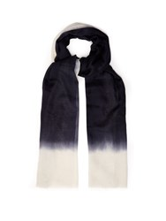 Denis Colomb Mustang Peacock Cashmere Scarf Blue White