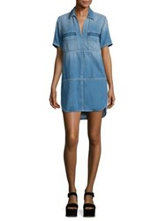 7 For All Mankind Short Sleeve Popover Chambray Dress Luxe Lounge Coastal Blue
