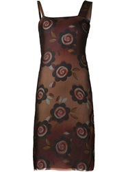 Maison Martin Margiela Maison Margiela Floral Print Sheer Dress Red