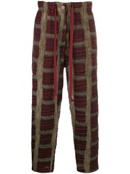 Uma Wang Cropped Tapered Trousers Brown