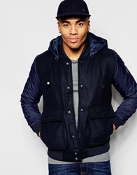 Native Youth Contrast Sleeve Hooded Jacket Navy