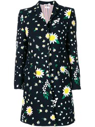 Thom Browne Floral Motif Coat Blue