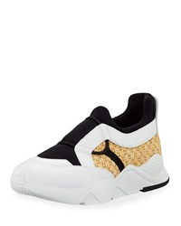 Robert Clergerie Savly Raffia And Leather Sneaker White