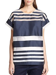 Piazza Sempione Sheer Stripe Tunic Dark Blue