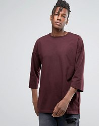 Asos Oversized 3 4 Sleeve T Shirt In Oxblood Oxblood Red