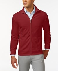 Club Room Long Sleeve Pique Full Zip Jacket Only At Macy's Anthem Red
