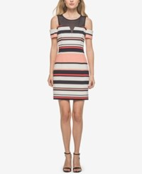 Guess Illusion Striped Cold Shoulder Dress Pink White Navy