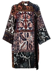 Chloe Tapestry Jacquard Wrap Coat Multicolour