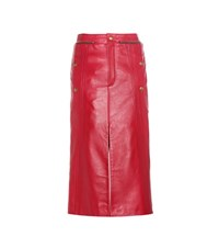 Chloe Embellished Leather Skirt Red
