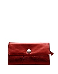 Kenneth Cole Reaction Button Up Flap Clutch Wallet Berry