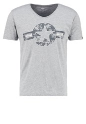Alpha Industries Usaf Print Tshirt Grey Heather Light Grey