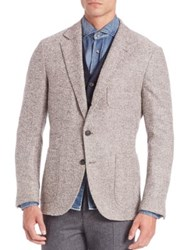 Brunello Cucinelli Virgin Wool And Cashmere Blend Herringbone Deconstructed Jacket Farro