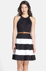 Women's Eliza J Stripe Skirt Cotton Sateen Fit And Flare Dress Black Ivory