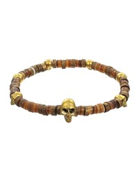 Mach Speed Men's Skull Disk Bead Stretch Bracelet Tan