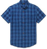 J.Crew Kessler Button Down Collar Checked Linen Shirt Blue