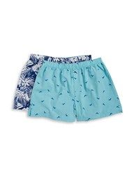 Tommy Bahama Two Pack Floral Print And Plaid Boxers Blue